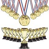 12 Trofeos Y 12 Medallas - Premios Perfectos - Todos Pueden Ser Ganadores, Ideales Para Logros Y Premios De Esfuerzo En Deportes Y Competiciones