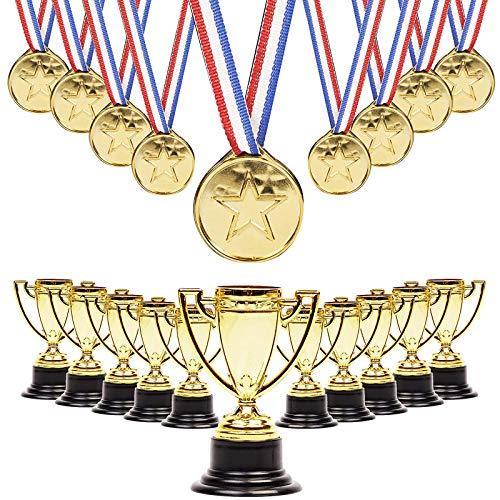 24 Stück Goldene Pokale Trophäen Medaillen Gewinner Award für Kindergeburtstag Party Mitgebsel, Sport, Spiele & Wettbewerbe, Preise.