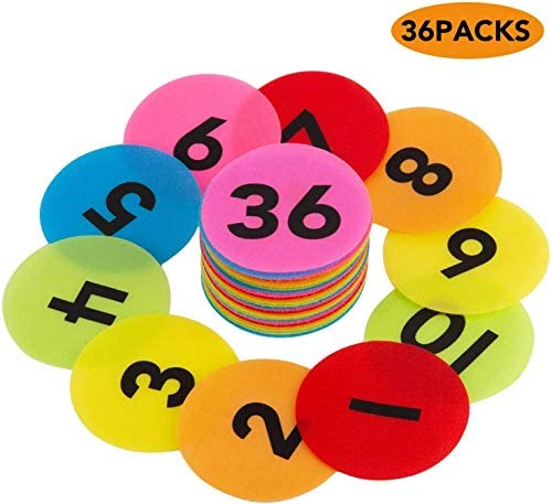AIEX 36 Pack Carpet Spot Markers Nylon Carpet Spot Sit Markers Circles Marker Dots with Numbers product image