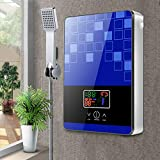 Jasemy - Calentador de agua caliente instantáneo para ducha, set digital sin tanque, calentador de agua eléctrico sin depósito, juego de ducha de baño azul, 6500 W