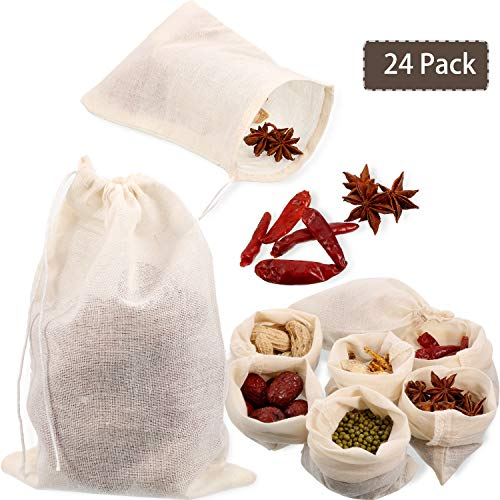 24 Pieces Reusable Drawstring Muslin Bag