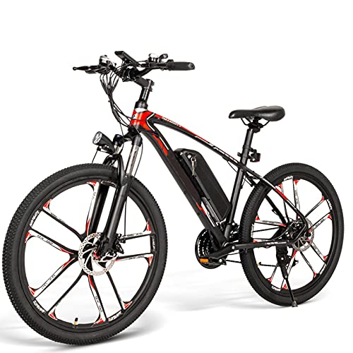 """FBKPHSS 26"""" Zusammenklappbar E-Bike, 350W Motor Elektrofahrrad mit Abnehmbarer Lithium Shimano 21Gang Getriebe Elektrisches Fahrrad,Schwarz"""