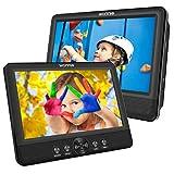 WONNIE 2 Reproductor de DVD Portátil para Coche, con 10.5' Doble Pantallas para Niños Viaje 5 Horas Batería Recargable Compatible con Tarjeta SD y USB con 2 Mando a Distancias