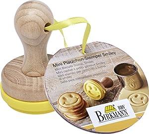 Mini Plätzchen-Stempel Smiley Ø 5 cm: Holzgriff und Lebensmittelechtes Silikon, 5cm