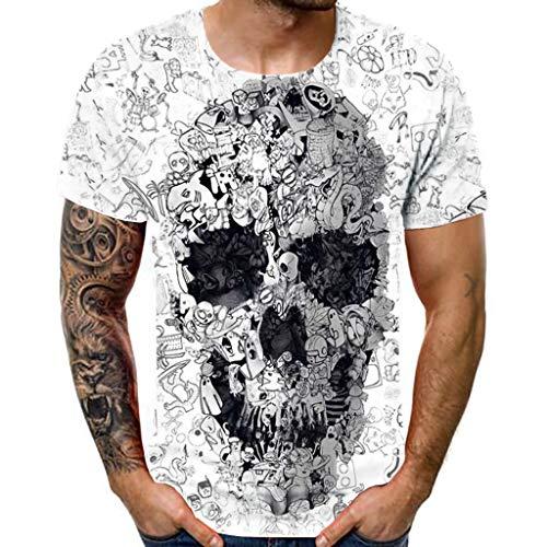 T-Shirt für Herren/Skxinn Männer Kurzarm Rundhals Skull 3-D Drucken Oberteil Vintage Shirts,Sommer New Große Größen Slim Fit Tops Casual Lose Pullover Hemd Blouse M-3XL Reduziert(Weiß,XX-Large)