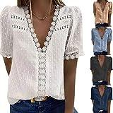 Tee Shirt Femme Dentelle Col en V Manche Courtes Chic - Top Femme Élégant Solide Ample Tunique Vêtement Haut Top Tunique Femme Chic T-Shirt Grande Taille Casual Haut Élégant Casual Femme Eté