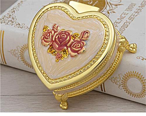 Joyero de metal, caja de almacenamiento de joyas en forma de corazón rosa flor de boda caja de regalo de boda rosa dorada