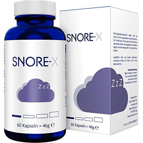 SNORE-X Kapseln für die ruhige Nacht mit Baldrian + Eukalyptus + Pfefferminze + Ananas + Kardamom, Pflanzliche ätherische Öle, 60 Kapseln