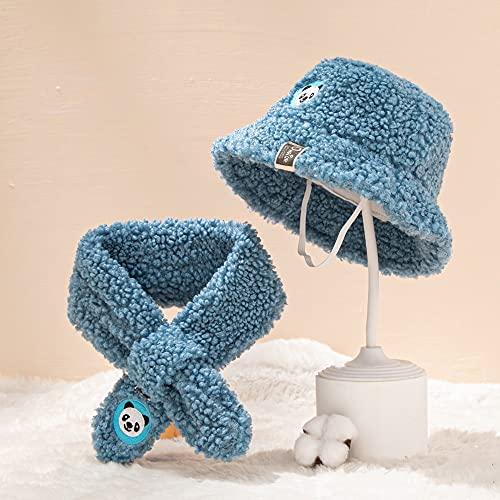 Sombrero y bufanda del cubo de bebé, sombrero lindo del invierno de la historieta linda, sombrero de vellón caliente, gorra de pescador al aire libre, sombreros de invierno para niñas para bebés.