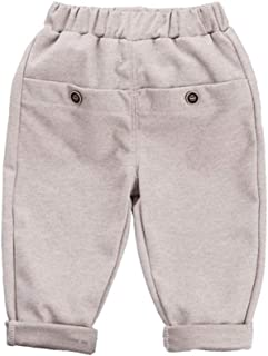 Xifamniy Infant Unisex Babies Spring&Autumn Pants Solid Color Loose Fit Cotton Trousers