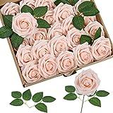 Homcomodar Fiori Artificiali Champagne Rosa Rosa 50pcs Reale Cercando Rose Finte con Gambo per Matrimonio Fai da Te Mazzi Centrotavola Disposizione Partito Casa Arredamento