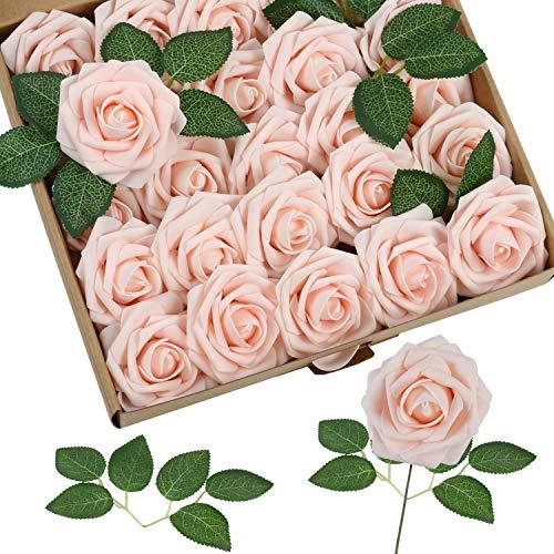 Homcomodar Künstliche Rose 30Pc Künstliche Blume Echt aussehende gefälschte Rosen mit Stiel für Die Hochzeit (Rosa Champagner)