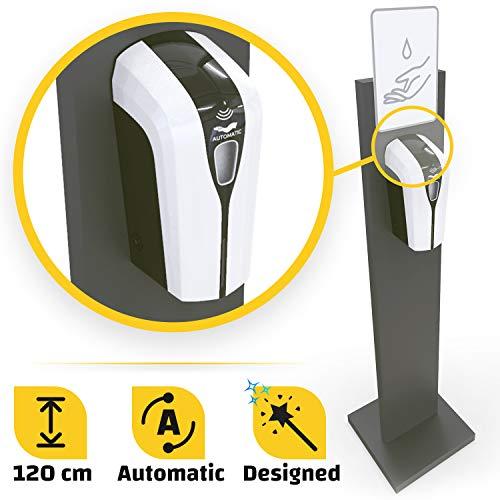 Klemp Desinfektionsmittelspender mit Ständer, stehender Spender für Desinfektionsmittel, 1000ml, 120cm (Mit Sensor - Einseitig)