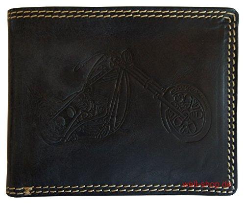 Hochwertige Geldbörse Geldbeutel Portemonnaie Büffel Leder Motorrad Chopper geprägt