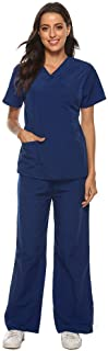 Women V-neck Nursing Working Uniform Set Suit, Ladies Solid Short Sleeve Casual Pocket Tops+Pants