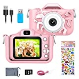 ERAY Kids Camera Digital Video Cameras, Children Cameras Child Camcorder Cartoon Video Recorder, 2.0 Inches Color Screen/ 1080P / 32GB SD Card, Toys Gift for 3-12 Year Old Boys Girls (Pink)