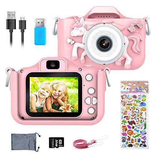 ERAY Fotocamera per Bambini 1080P HD, Ricaricabile Fotocamera Digitale per Bambini da 2 Pollici, Selfie / 20MP / Foto Temporizzata/Scheda TF da 32 GB/Zoom 8X / Modalità Multiple, Rosa