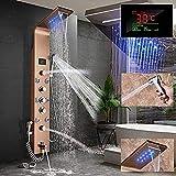Huin Columna de ducha LED de acero inoxidable con función bidé, indicador de temperatura y 8 chorros de masaje