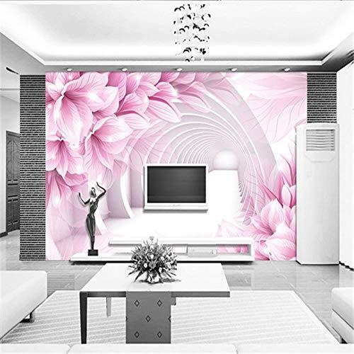 JFSZSD Mural Papel Pintado Flor rosa 200CMx175CM Empapelado Pegatina Mural Paneles Decorativos Wallpaper Extraíble Impermeable Decoración de Hogar Cocina Salón Moderna TV Decor
