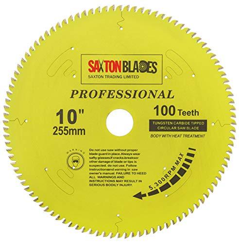 Saxton TCT255100TPRO - Lama per sega circolare TCT, 255 mm x 100 denti x 30 mm, anelli di riduzione da 16, 20, 25, 25,4 mm, compatibile con Evolution Bosch, Makita, Dewalt, ecc.