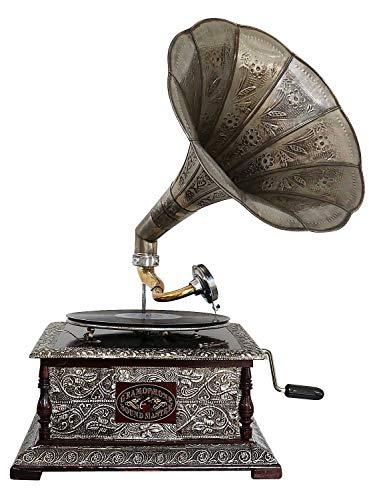 Nostalgia grammofono Gramophone Imbuto Decorazione in Stile Antico (e)