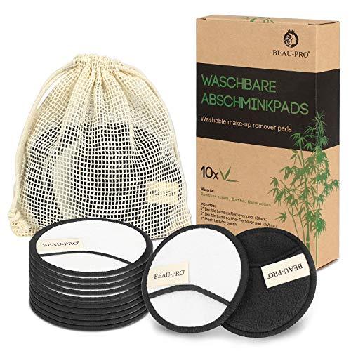 Abschminkpads Waschbar, Wattepads Wiederverwendbar aus Bambuskohle und Bambusfasern, Sanft Makeup...