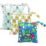 HOTLIKE Bolsa de Pañales, 3PCS Bebé Reutilizable Impermeabilizan Bolsa con Cremallera Impermeable para Mamá, Wetbag Portátil Organizador de Viaje, Playa, Gym (Blanco)