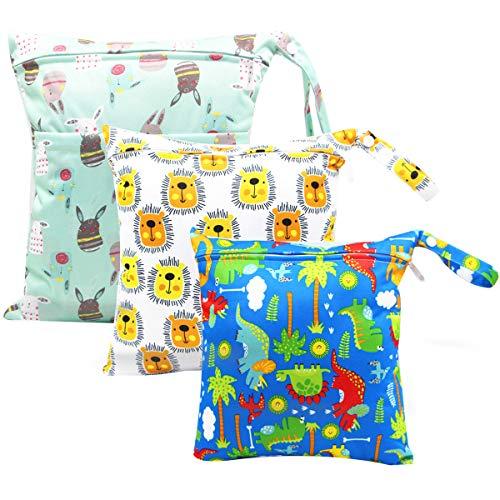 HOTLIKE Wetbag, Nassbeutel, 3 Stück Windeltasche Wickeltasche, Nasstaschen Wiederverwendbare Organiser Beutel Waschbar mit Reißverschluss für Baby Kleinkind Reisen Gym (Hellgrün)