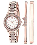 Anne Klein Women's Swarovski Crystal Accented Rose Gold-Tone Bracelet Watch and Bangle Set, AK/3334BHST