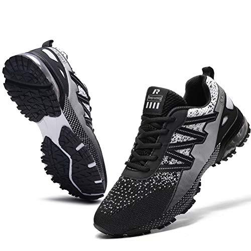 FUSHITON Mens Running Shoes Casual Fashion Sneakers Sports Lightweight Jogging Athletic Road Walking Tennis Shoe Grey