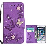 i phone 5 case gems - for iPhone 5 5S SE Case LAPOPNUT Bling Sparkly Diamonds Gems Butterfly Design Premium PU Leather Flip Wallet Case with Card Holder Magnetic Kickstand Cover, Purple