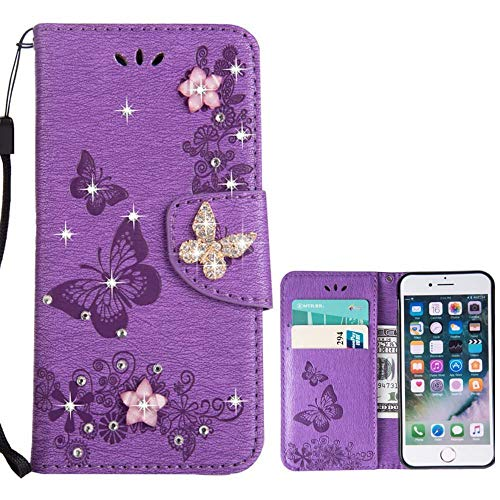 for iPhone 6 Plus Case iPhone 6S Plus Case LAPOPNUT Bling Sparkly Diamonds Gems Butterfly Design Premium PU Leather Flip Wallet Case with Card Holder Magnetic Kickstand Cover, Purple