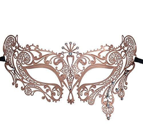 Thmyo Halloween Maske Maske Laser geschnittene Metall Damen Maskerade Maske venezianische Maske (Roségold 2)