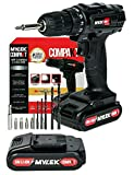 MYLEK 18V Cordless Drill Driver Lithium Ion Electric Drill Set - Spare Battery 13 Piece Combi Accessory Kit Included - LED Worklight (Black & Red)