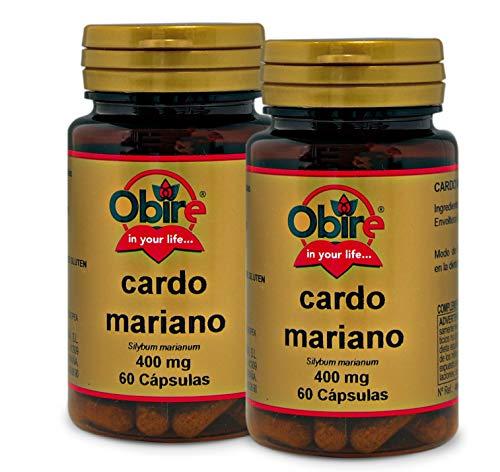 Obire | Cardo Mariano | 400 mg | Contribuye al Potencial Detoxificante del Hígado | Facilita la Digestión de las Grasas | 60 Cápsulas (Pack 2 unid.)