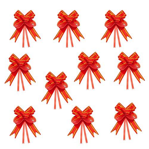 Oblique-Unique® 10 Geschenkschleifen mit Geschenkbändern für Geschenke und Zuckertüten - Farben und Größe wählbar (Rot 10x7cm)