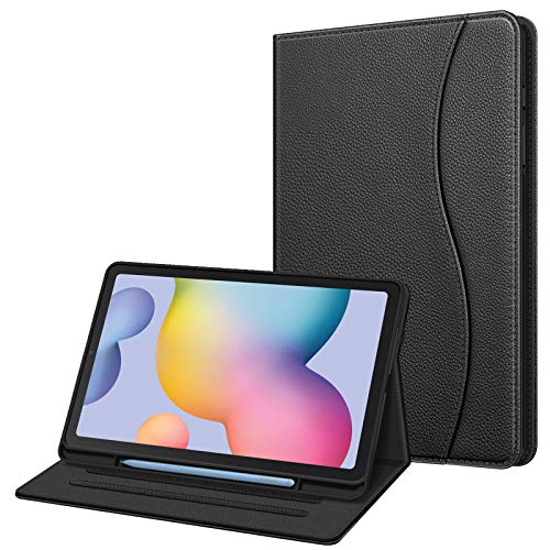 Fintie Hülle für Samsung Galaxy Tab S6 Lite, Soft TPU Rückseite Gehäuse Schutzhülle mit S Pen Halter & Dokumentschlitze für Samsung Tab S6 Lite 10.4 Zoll SM-P610/ P615 2020, Schwarz