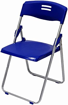 QGHLW Office Chair Plastic Folding Chair Classic Commerciale Folding Chair Partito Meeting Sedia di plastica Sedia Pieghevole Schienale Sedia Installazione-Libero Che Piega Sedia, Blu