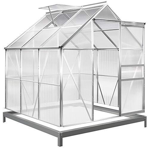 Deuba Serra da giardino in alluminio 5,85m³ con Base 190x195cm 31kg Piante pomodori Cassetta Esterno orto fiori