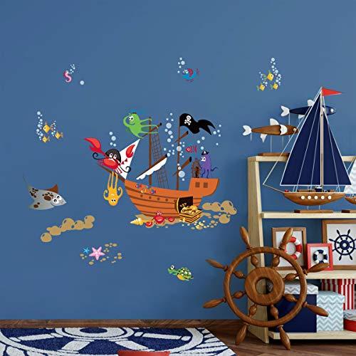 ufengke Pegatinas de Pared Barco Pirata Animales Vinilos Adhesivas Pared Cangrejo Pulpo Burbujas para Dormitorio Habitación Infantiles Niños Sala de Estar