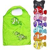 Consler 防水エコバッグ 8 個セット 簡単 折り畳み ポケットサイズ おしゃれ コンパクト 収納 おおきめ ショッピングバッグ (7魚の形 1猫の形)
