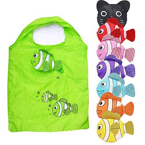新型8枚入り折りたたみエコバッグ、環境にやさしいスーパーマーケットショッピングバッグ、漫画の猫型の手提げ収納袋、環境にやさしいレジ袋。