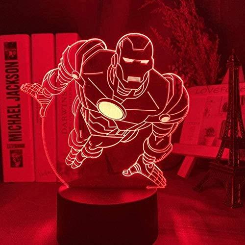 Baby Spielzeug Lámpara 3D Iron Man Armadura Figura Led Luz de Noche para Niños Dormitorio Decoración Superhéroe Noche Luz Fresca para Niño