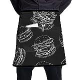 N\A Delantal de Camarero Unisex de Hamburguesa Dibujado a Mano Usado para Manualidades de Cocina de Barbacoa