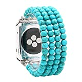 KAI Top Compatible for Apple Watch Band 42mm 44mm, Created-turquoise Beaded Elastic Stretch Replacement Bands Compatible with 2019 Apple Watch Series SE, iWatch 6/5/4/3/2/1, Sport, Nike+, Edition