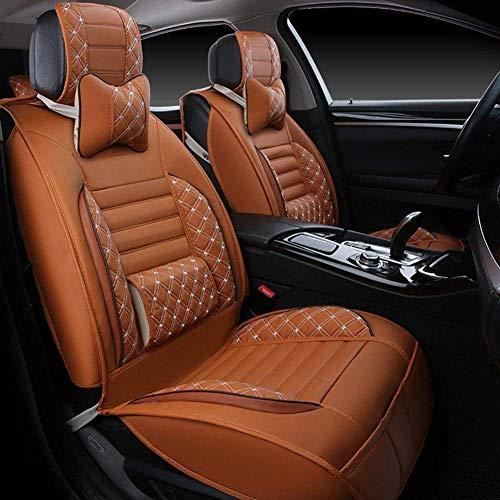 Xljh Coussin de siège de Voiture en Cuir Universal Full Avant et arrière Coussins de siège Confortable Four Seasons,Orange