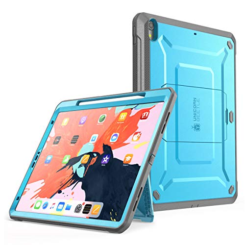 SUPCASE iPad Pro 12.9 Hülle Support Pencils Laden 360 Grad Case Bumper Schutzhülle Cover [Unicorn Beetle PRO] mit eingebautem Displayschutz und Ständer für iPad Pro 12.9 Zoll 2018 (Blau)