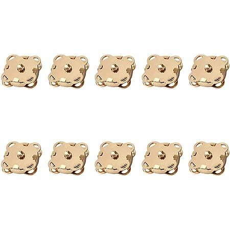 SUPVOX 10pcs Bottoni magnetici Bottoni Automatici Bottoni Fibbia in Metallo catenacci Fiore di Prugna per Borse Portamonete Vestiti Che Fanno 14mm (Dorato)