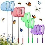 EMAGEREN 8 Pcs Redes de Mariposa Telescópicas Red Atrapa Mariposas Extensible Red para Atrapar Mariposas y Insectos Red de Captura para Niños Red de Pesca Pequeña para Exterior y Jardín - 4 Colores