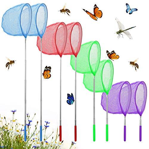 EMAGEREN 8 Stück Kinder Schmetterling Net Teleskop Schmetterlingsnetz Ausziehbar Insekt Fischernetz Kinder Kescher Klein Fish Fangnetz Outdoor Kinder Spielen Zum Fangen von Insekten Bugs Angeln